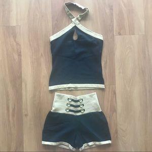 Pants - NWT sexy gold/black matching top & shorts